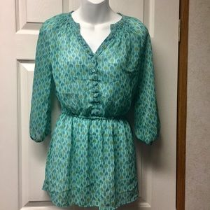 Mossimo small teal tunic gathered top